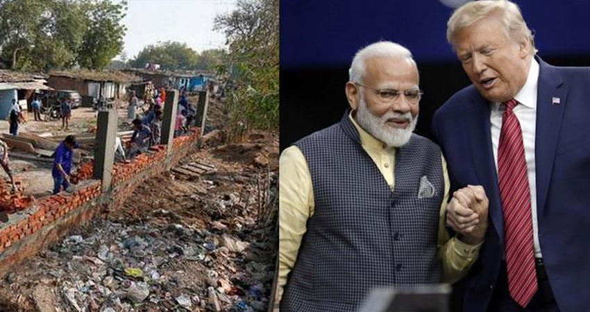 donald trump us president india visit wall built in ahmedabad to cover slums