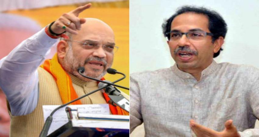 maharashtra amit shah starts bjp campaign does not mention shiv sena in speech