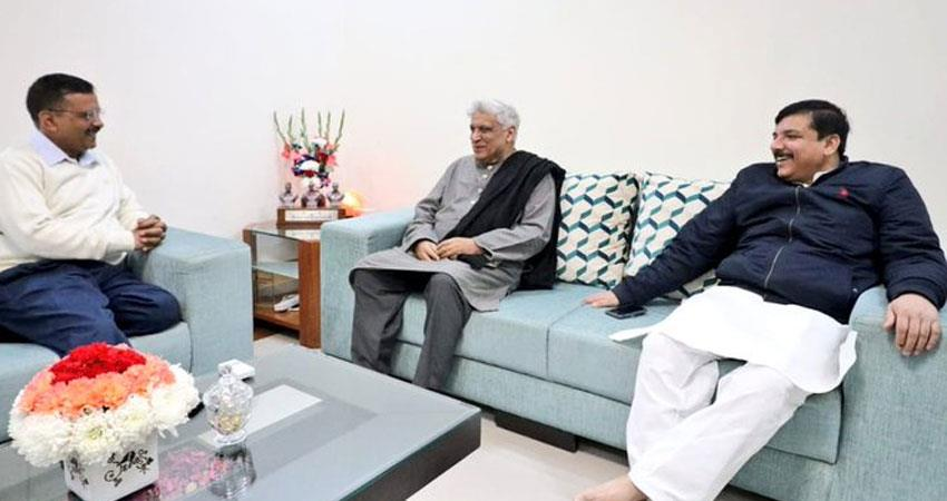 javed akhtar met aap arvind kejriwal congratulated for winning delhi assembly elections 2020