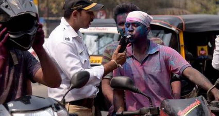 holi 2020 if you drive drunk then you will go to jail by delhi police