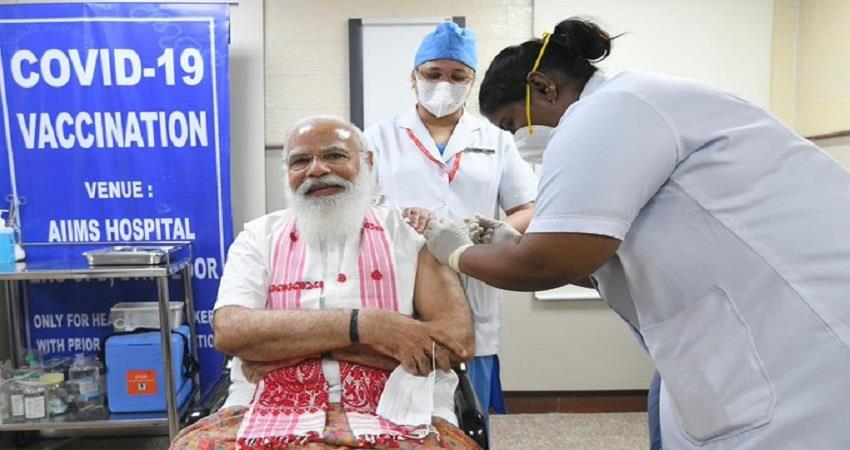 pm narendra modi took corona vaccine first dose sobhnt