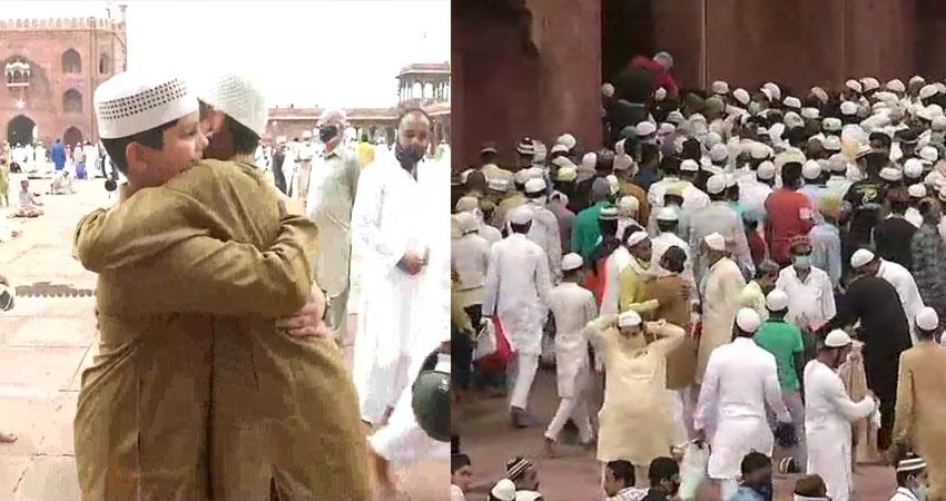 eid prayers at the jama masjid in delhi bakrid is being celebrated all over the country prshnt