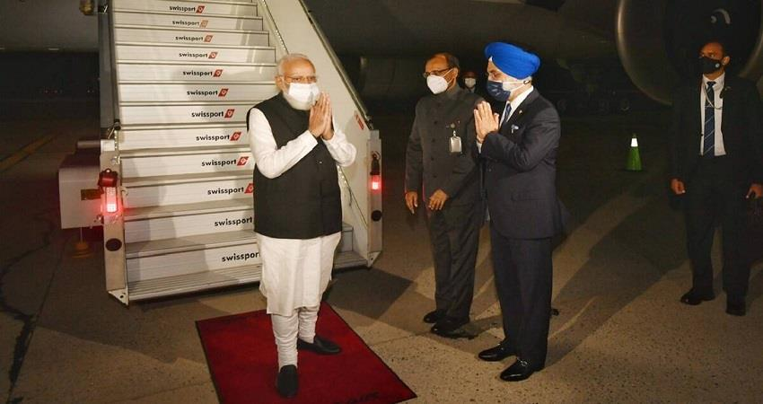 pm modi arrives in new york will address the 76th session of unga kmbsnt