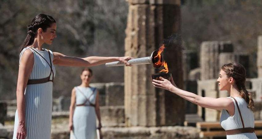 tokyo olympics 2020 torch ignited at the ancient olympia amidst greece due to corona virus