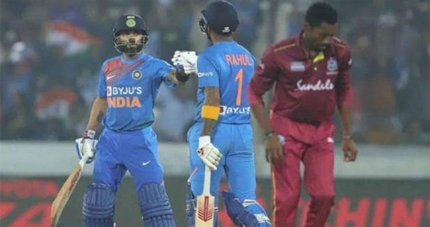 ind vs wi india won the match due to the strong batting of virat rahul