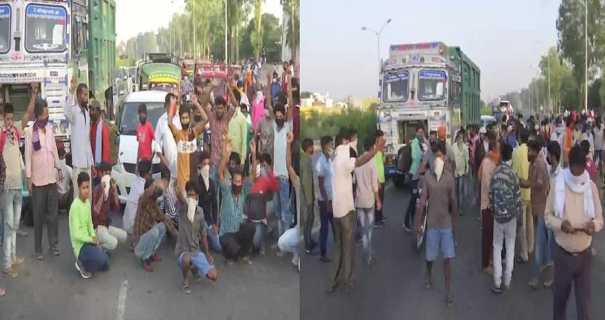 punjab migrant workers hold a protest at bypass road in amritsar lockdown pragnt