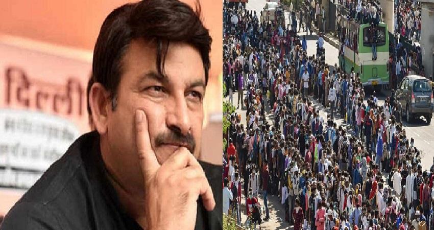 crowd of migrants on delhi up border manoj tiwari statement kmbsnt