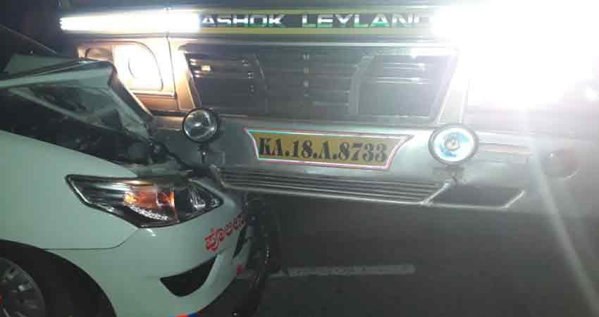 union-minister-anant-kumar-hegde-car-collision-with-truck
