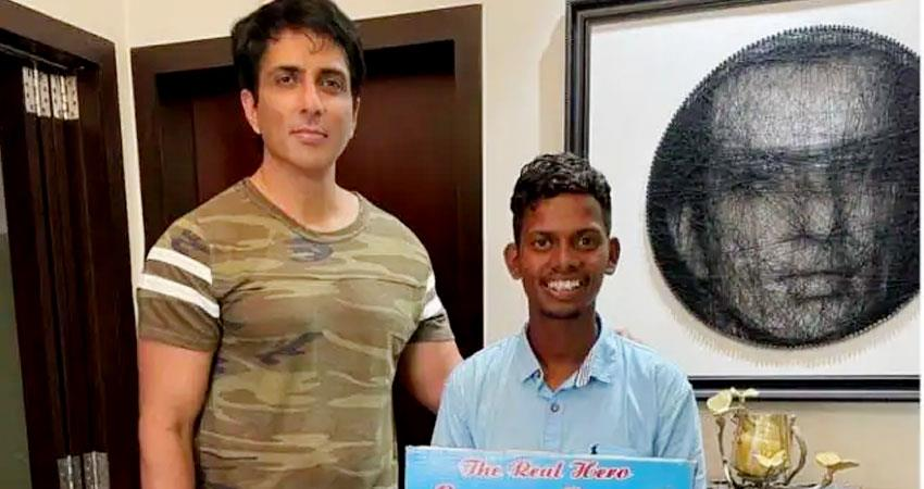 sonu sood stunned by fan who walked barefoot hyderabad to mumbai to meet him aljwnt