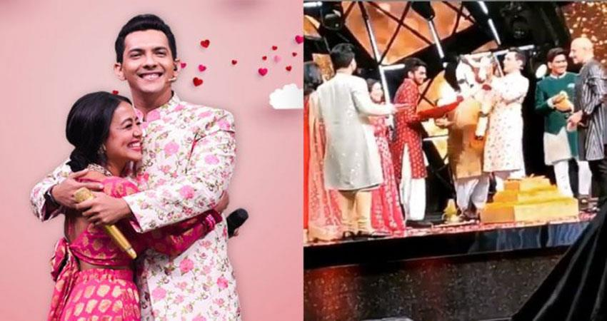 neha kakkar and aditya narayan marriage on indian idol sets viral video