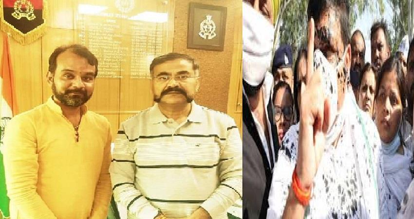 aap mp sanjay singh attacker pic with adg hathras up police kmbsnt