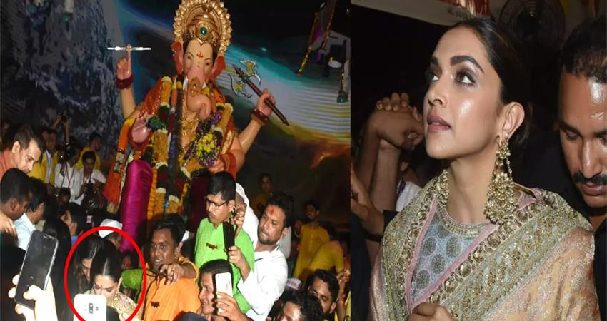 video deepika padukone offers prayers at mumbais lalbaug ganpati