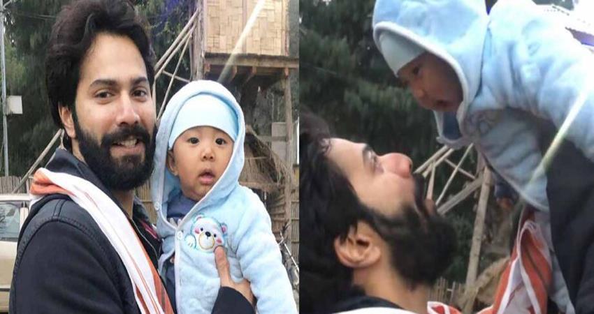 varun dhawan video viral with arunachal pradesh cute baby sosnnt