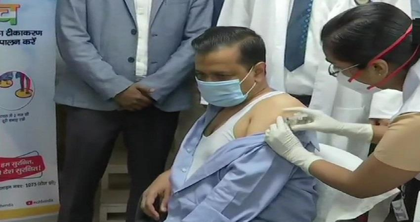 delhi cm arvind kejriwal took corona vaccine first dose kmsbtn
