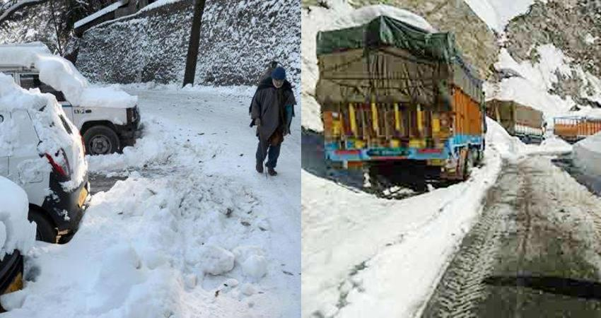 himachal and kashmir heavy snowfall again 450 routes of hrtc closed
