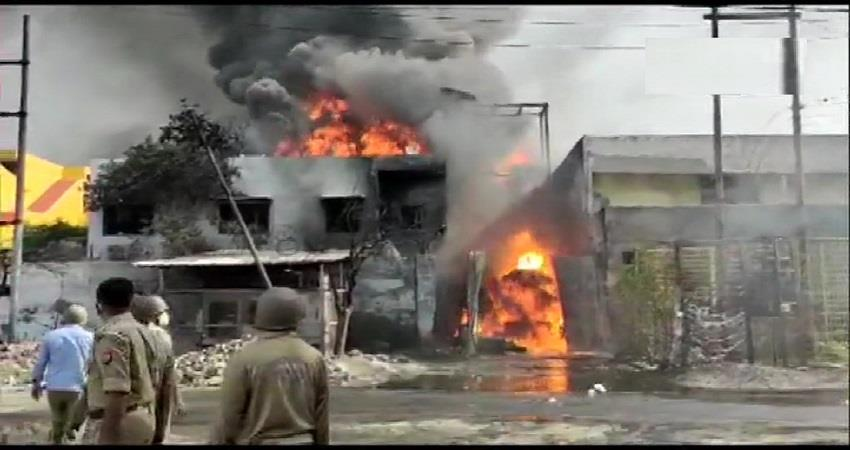 fire broke out in chemical factory kavi nagar ghaziabad kmsbtn