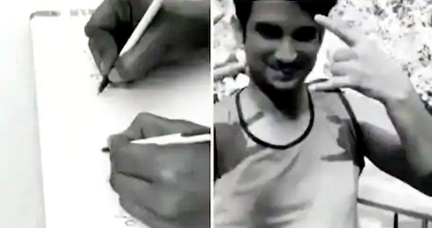 sushant singh rajput writing with his both hands viral throwback video aljwnt