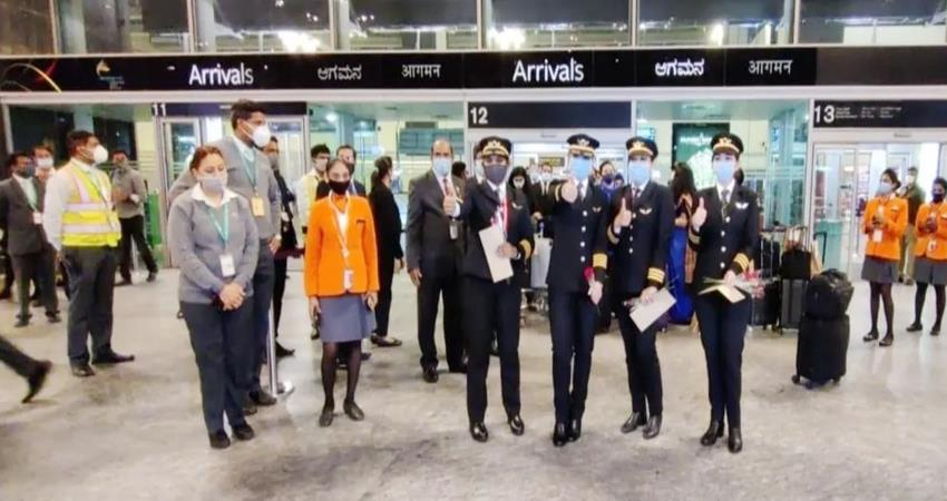 ai women pilots created history flight reached bangalore by crossing north pole prshnt