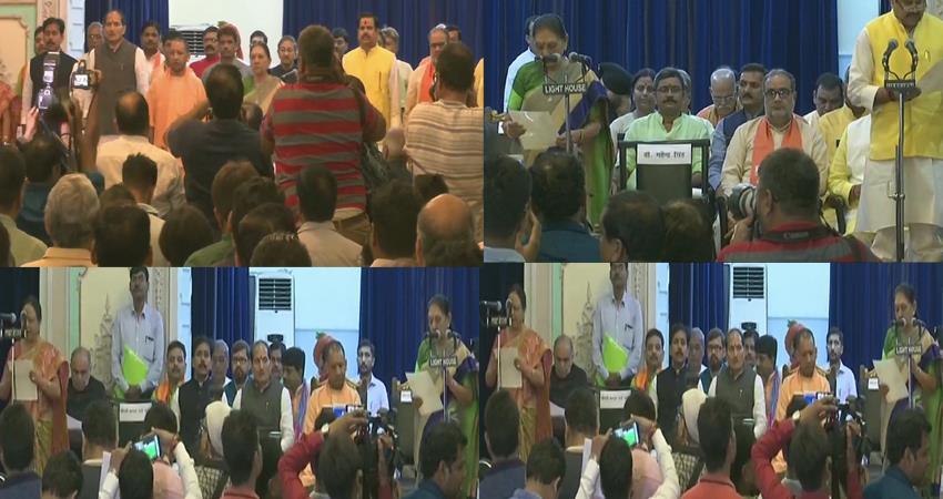 uttar pradesh cm yogi adityanath first cabinet 23 ministers take oath