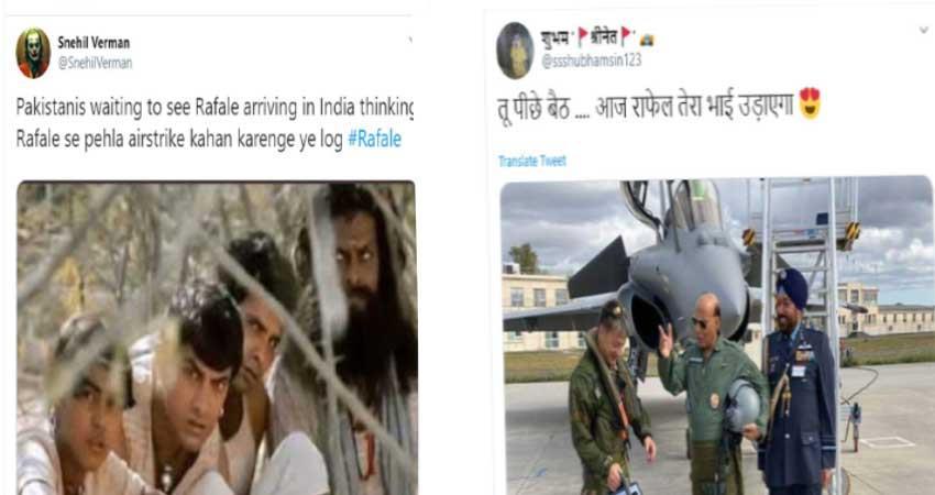 rafale puja politics trend on social media rajnath singh
