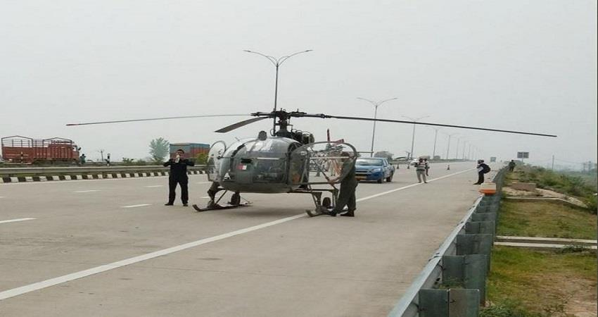 emergency-landing-of-army-helicopter-on-kgp-expressway-in-hayrana-prsgnt