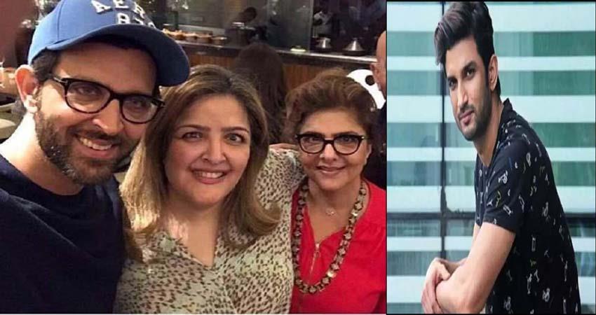 hrithik roshan mother pinkie roshan shared a post for sushant sosonnt
