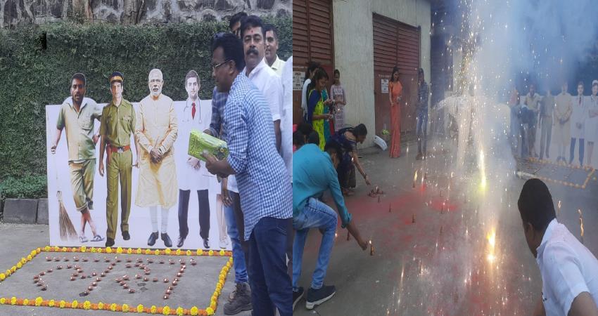 bjp celebrate and burn an effigy of coronavirus in mumbai covid-19 vaccination pragnt
