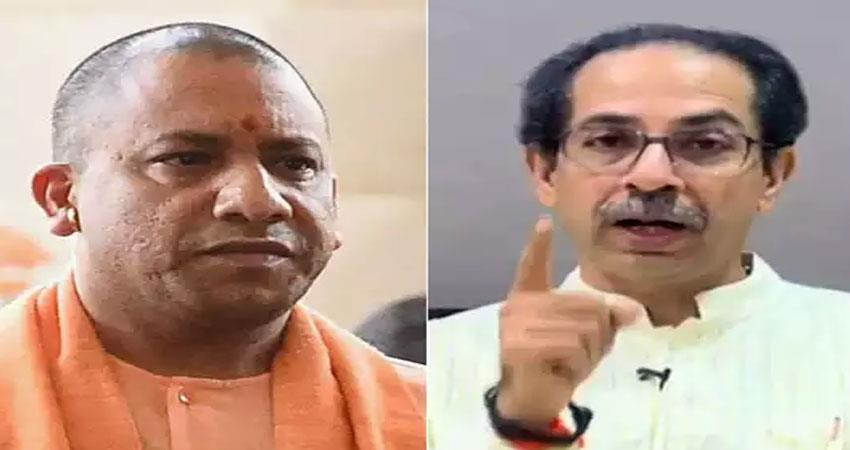 shiv sena lashes out at cm yogi said for anyone father to take film city anjsnt