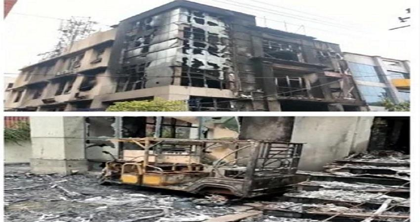noida factory caught fire guards died kmbsnt