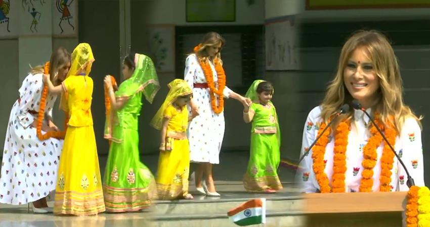 first lady of the us melania trump in sarvodaya coed senior secondary school delhi