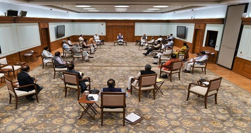 union cabinet meeting chaired by pm narendra modi social distancing seen