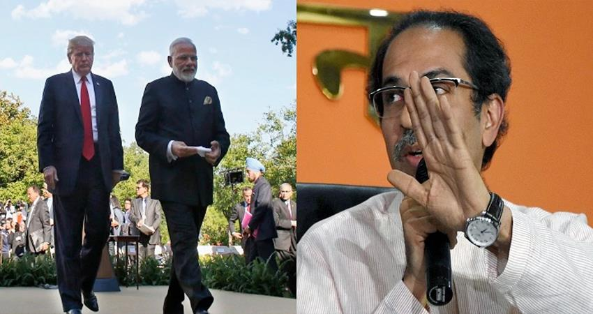 shiv sena saamana attack on modi government ahmedabad donald trump visit