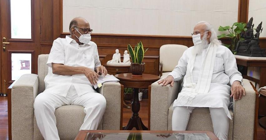 ncp leader sharad pawar meets pm modi talks lasted for about an hour prshnt