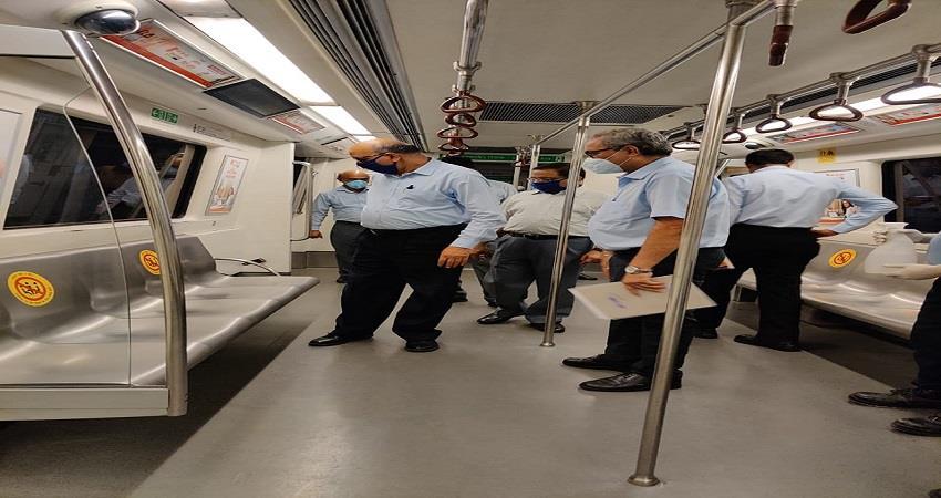 dmrc md mangu singh inspection khyber pass shastri park depot delhi metro kmbsnt
