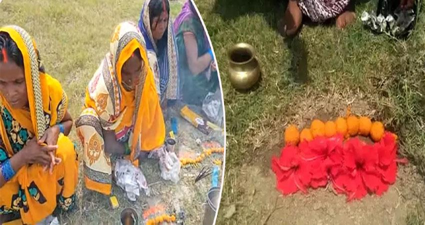 women worship corona mata in bihar video viral anjsnt