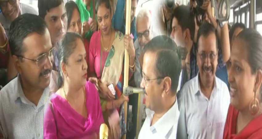 delhi cm arvind kejriwal travel in bus