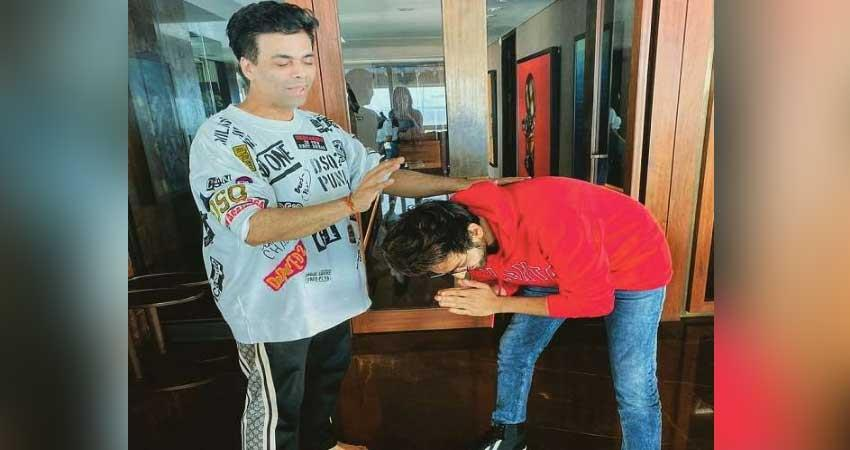 kartik aaryan took blessings of karan johar