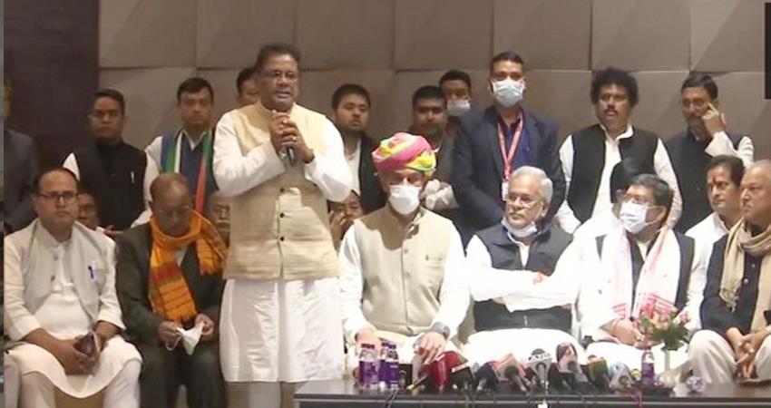 assam congress announces grand alliance before elections silence on cm faces prshnt