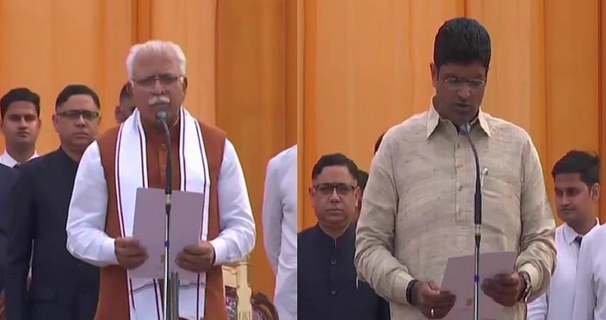 haryana manohar lal khattar and dushyant chautala oath taking ceremony
