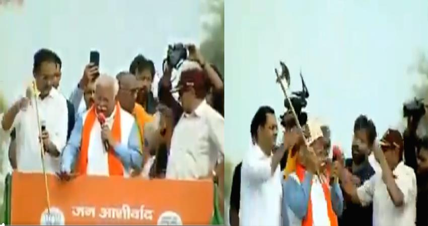 haryana cm manohar lal khattar viral video jan ashirwad rally haryana bjp