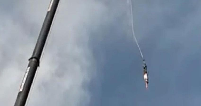 man falls from bunjee jumping in poland viral video
