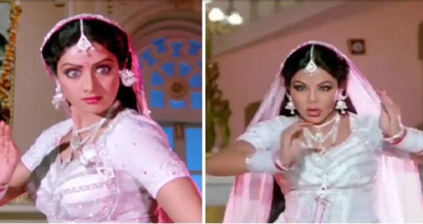 rakhi sawant copies sridevi nagin style in her latest video jsrwnt