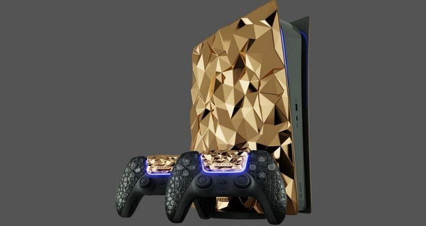 caviar covers the sony playstation 5 in gold and crocodile leather prsgnt