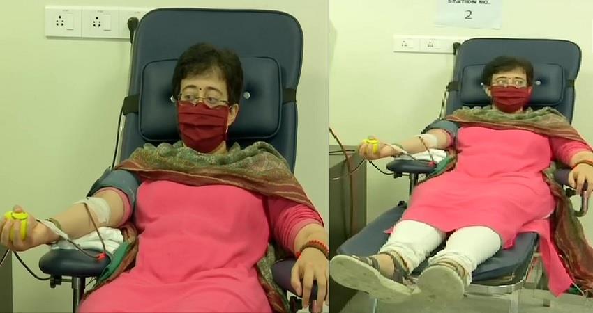 aap mla atishi donates blood plasma at ilbs hsopital in vasant kunj delhi covid19 pragnt