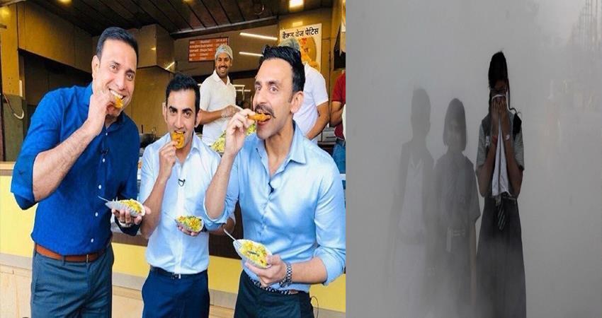 aap slams on gautam gambhir enjoying indore while delhi chocking due to pollution