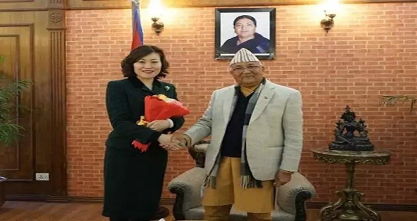 nepal communist party pm kp sharma oli china intrest hou yanqi sobhnt