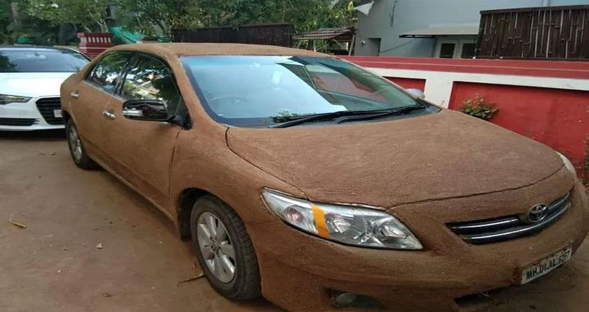 to-avoid-heat-cars-painted-by-cow-s-dung-photos-gone-viral