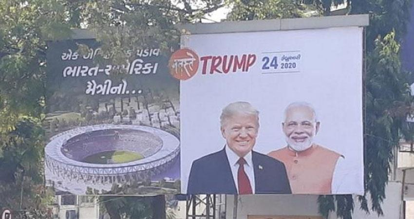 Ahmedabad city ready to welcome US President posters of Namaste Trump in place