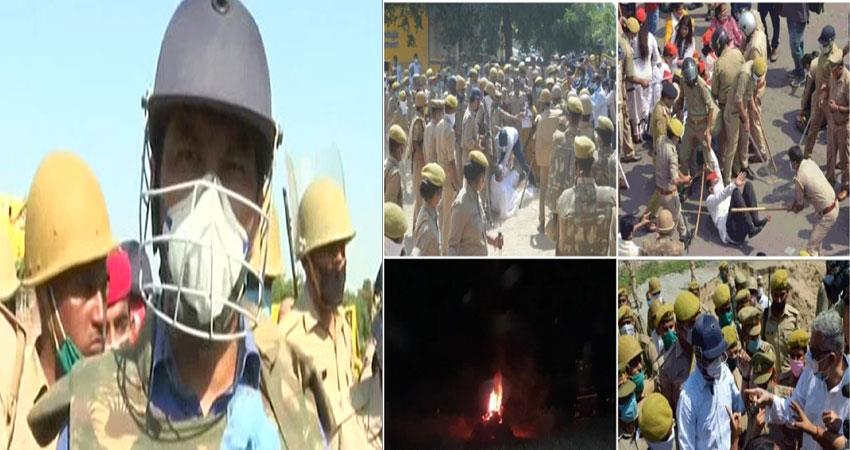mob pelted stones at police misbehaved with woman constable hathras gang rape case pragnt