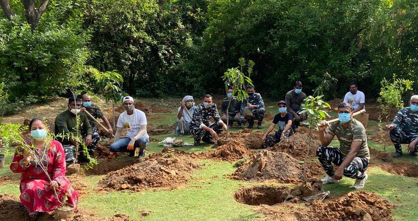 manesar foundation laid for the nursery of banyan and peepal trees laid